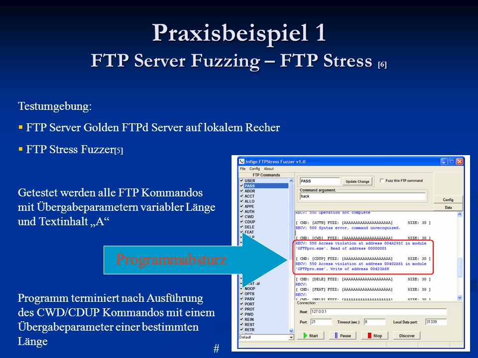 Praxisbeispiel 1 FTP Server Fuzzing – FTP Stress [6]